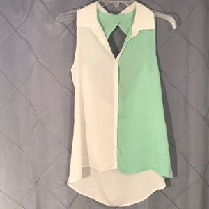 Color Block open back button up tank top small